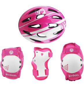 Kask rowerowy VÖGEL VOK-450S Różowy dla dzieci (Rozmiar S) + Zestaw ochraniaczy