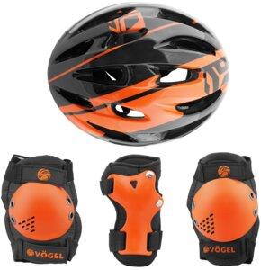 Kask rowerowy VÖGEL VOK-450S Czarny dla dzieci (Rozmiar S) + Zestaw ochraniaczy