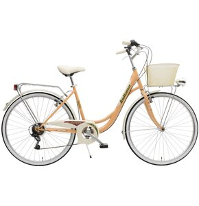 Rower miejski z koszykiem INDIANA Belle 6B 26 cali damski Pomarańczowy