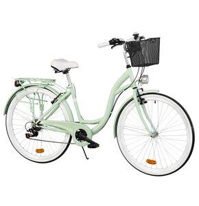 Rower miejski DAWSTAR Citybike S7B Miętowy + Stalowy kosz rowerowy VÖGEL VKS-102 Click