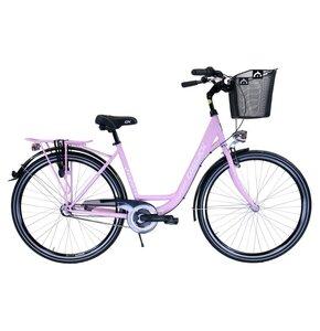 Rower miejski z koszykiem COSSACK Low Line 3B 28 cali damski Fioletowy mat