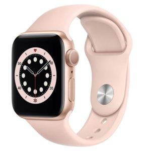 APPLE Watch 6 40mm (Złoty z opaską sportową w kolorze różowym)