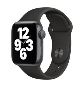 APPLE Watch SE 40mm (Gwiezdna szarość z opaską sportową w kolorze czarnym)