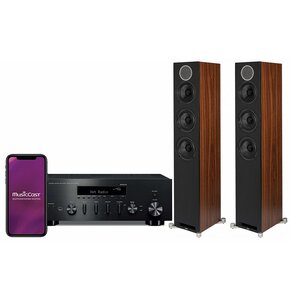 Zestaw stereo YAMAHA MusicCast R-N602 Czarny + ELAC Debut Reference F5 Orzech