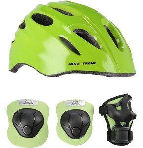 Kask rowerowy NILS EXTREME MTW01 Zielony dla Dzieci (rozmiar S) + Zestaw ochraniaczy H210
