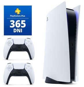 Konsola SONY PlayStation 5 + Kontroler DualSense Biały + PlayStation Plus 365 dni