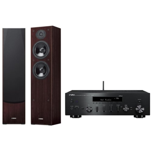 Zestaw stereo YAMAHA MusicCast R-N602 Czarny + NS-F51 Orzech
