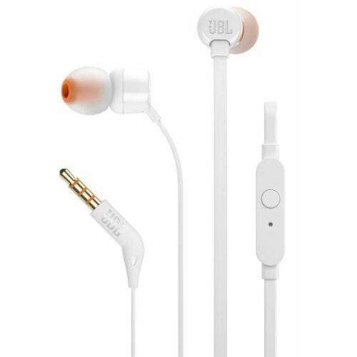 Słuchawki dokanałowe JBL T110 z mikrofonem Biały