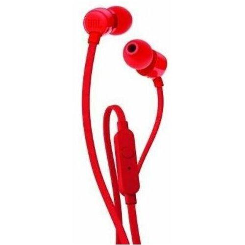 Słuchawki dokanałowe JBL T110 z mikrofonem Czerwony