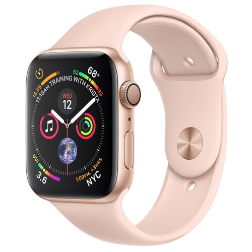 APPLE Watch 4 44mm (Złoty z opaską sportową w kolorze różowym)
