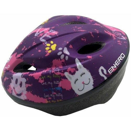 Kask rowerowy ENERO Love Kitty Fioletowy dla Dzieci (rozmiar S)