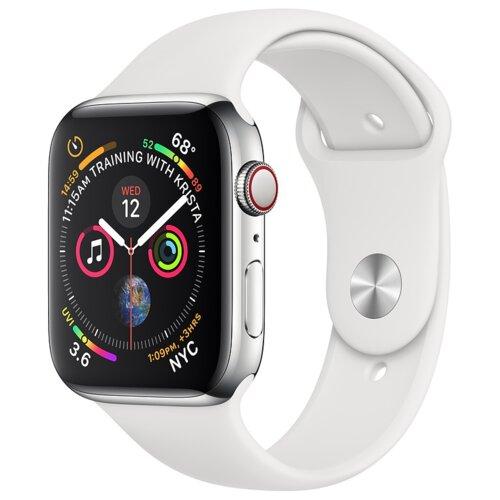 APPLE Watch 4 Cellular 40mm (Srebrny z opaską sportową w kolorze białym)