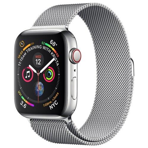 APPLE Watch 4 Cellular 40mm (Srebrny z bransoletą mediolańską w kolorze srebrnym)