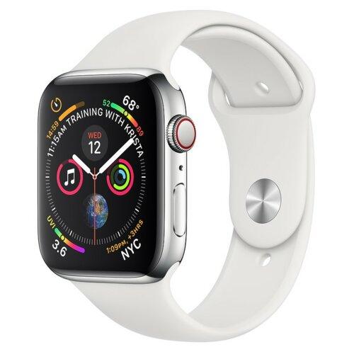 APPLE Watch 4 Cellular 44mm (Srebrny z opaską sportową w kolorze białym)