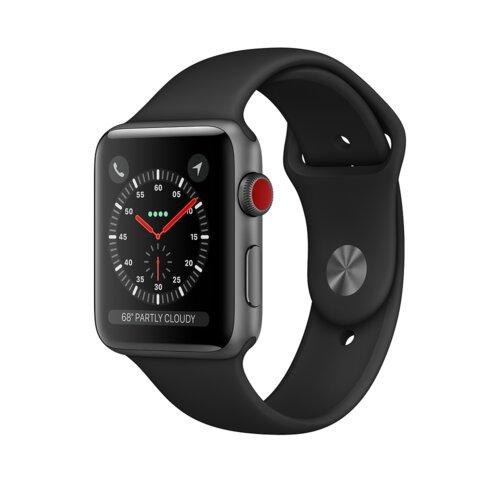 APPLE Watch 3 Cellular 42mm (Gwiezdna szarość z opaską sportową w kolorze czarnym)