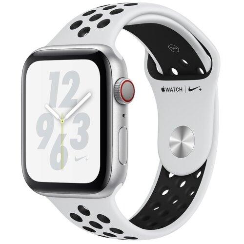 APPLE Watch 4 Cellular Nike+ 44mm (Srebrny z opaską sportową w kolorze platynowo-czarnym)