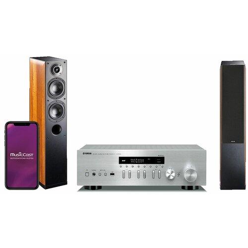 Zestaw stereo YAMAHA MusicCast R-N402D Srebrny + INDIANA LINE Nota 550X Orzech