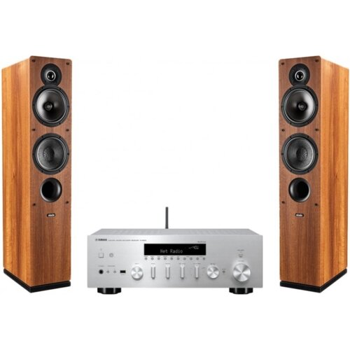 Zestaw stereo YAMAHA MusicCast R-N402D Srebrny + INDIANA LINE Tesi 561 Orzech