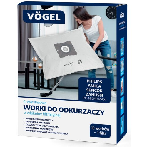 Worki do odkurzacza VÖGEL P15 (12 sztuk + filtr)