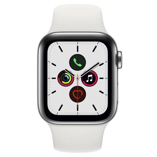 APPLE Watch 5 44mm (Srebrny z opaską sportową w kolorze białym)