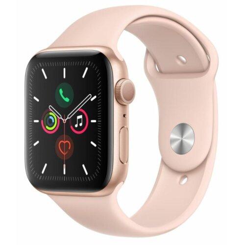 APPLE Watch 5 44mm (Złoty z opaską sportową w kolorze różowym)