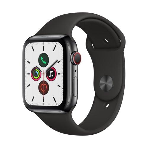 APPLE Watch 5 Cellular 44mm (Gwiezdna czerń z opaską sportową w kolorze czarnym)