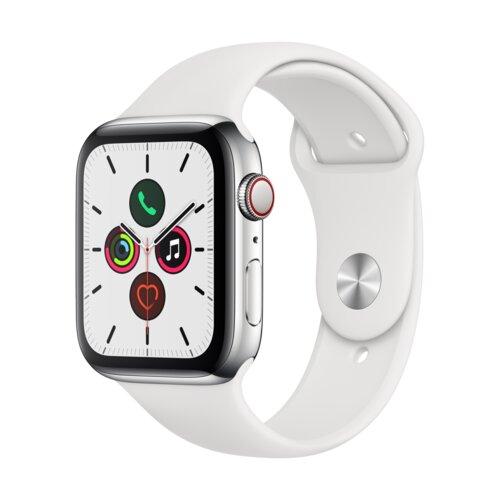 APPLE Watch 5 Cellular 44mm (Srebrny z opaską sportową w kolorze białym)
