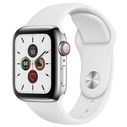 APPLE Watch 5 Cellular 40mm (Srebrny z opaską sportową w kolorze białym)