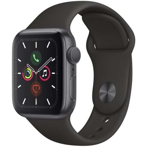 APPLE Watch 5 Cellular 40mm (Gwiezdna szarość z opaską sportową w kolorze czarnym)