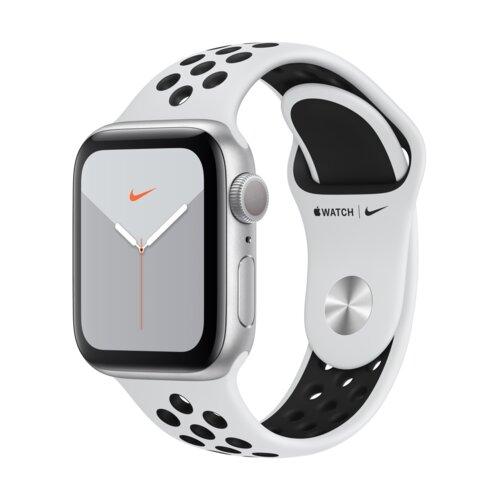 APPLE Watch 5 Cellular Nike+ 40mm (Srebrny z opaską sportową w kolorze platynowo-czarnym)
