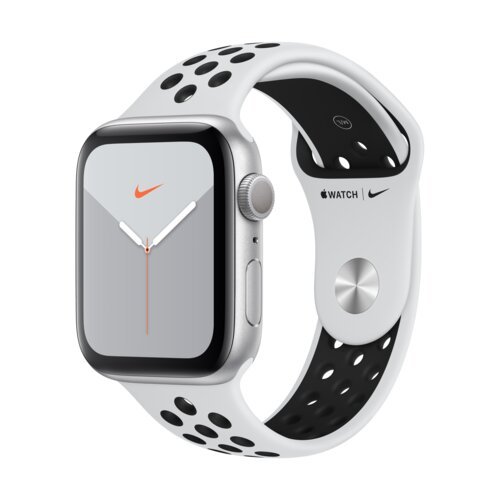 APPLE Watch 5 Cellular Nike+ 44mm (Srebrny z opaską sportową w kolorze platynowo-czarnym)