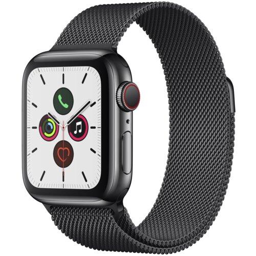 APPLE Watch 5 Cellular 40mm (Gwiezdna czerń z bransoletką mediolańską w kolorze czarnym)