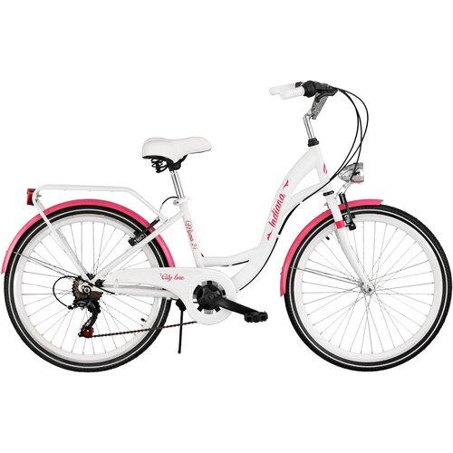 Rower młodzieżowy INDIANA Moena 24 cale dla dziewczynki Biało-różowy
