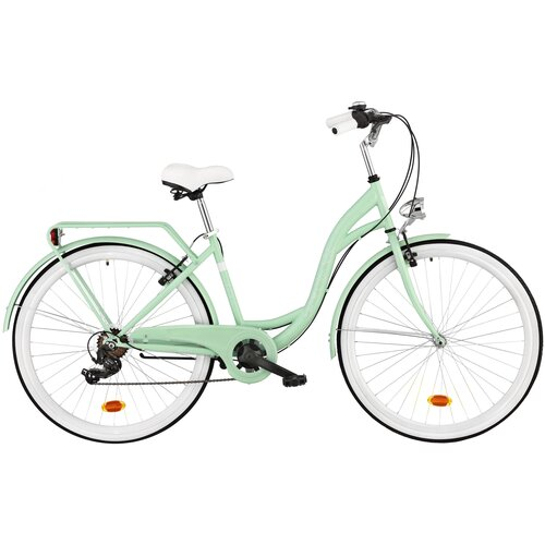 Rower miejski DAWSTAR Citybike S7B 28 cali damski Miętowy