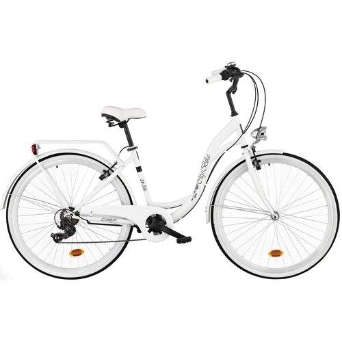 Rower miejski DAWSTAR Citybike S7B 28 cali damski Biały