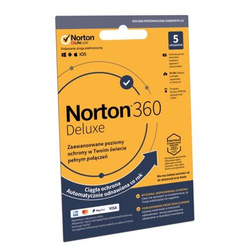Antywirus NORTON 360 Deluxe 50GB 5 URZĄDZEŃ 1 ROK Kod aktywacyjny