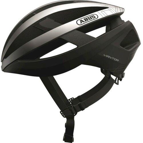 Kask rowerowy ABUS Viantor Czarno-srebrny Szosowy (rozmiar L)