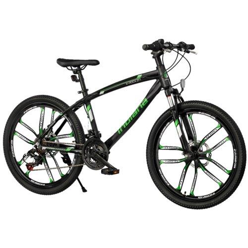 Rower młodzieżowy INDIANA X-Rock 2.4 24 cale dla chłopca Czarno-zielony