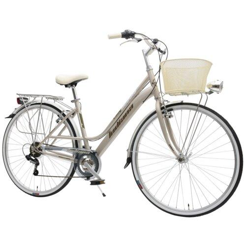 Rower miejski z koszykiem INDIANA Nuvola 7B 28 cali damski Szaro-złoty