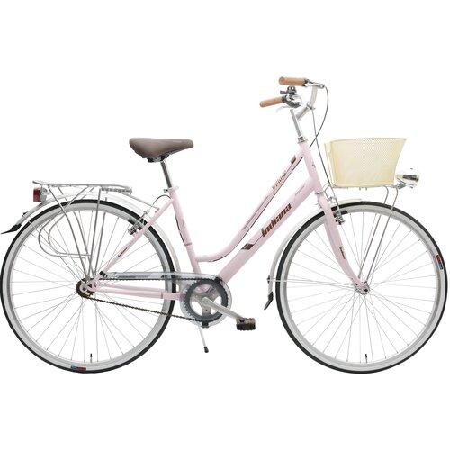 Rower miejski z koszykiem INDIANA Village 1B 28 cali damski Różowy