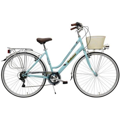 Rower miejski z koszykiem INDIANA Village 6B 28 cali damski Niebieski