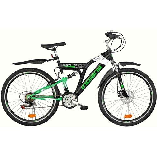 Rower młodzieżowy INDIANA X-Rock 1.6 26 cali dla chłopca Czarno-zielony