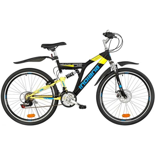 Rower młodzieżowy INDIANA X-Rock 1.6 26 cali dla chłopca Czarno-żółty