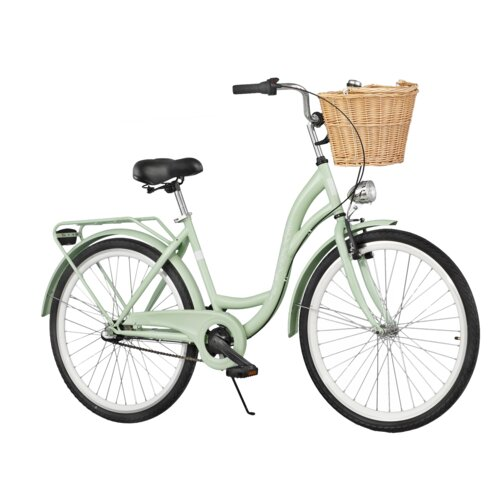 Rower miejski DAWSTAR Citybike S3B Miętowy + Stylowy kosz wiklinowy VÖGEL VKS-502