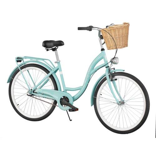 Rower miejski DAWSTAR Citybike S3B Lazur + Stylowy kosz wiklinowy VÖGEL VKS-502