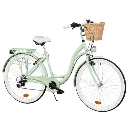 Rower miejski DAWSTAR Citybike S7B Miętowy + Stylowy kosz wiklinowy VÖGEL VKS-502
