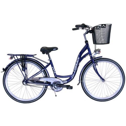 Rower miejski z koszykiem COSSACK Luna 3B 26 cali damski Granatowy