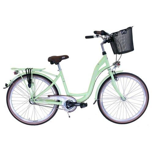Rower miejski z koszykiem COSSACK Luna 3B 26 cali damski Limonkowy