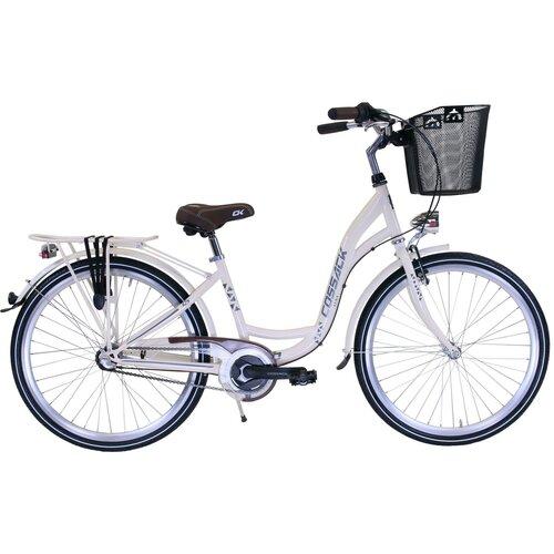 Rower miejski z koszykiem COSSACK Luna 3B 26 cali damski Kremowy