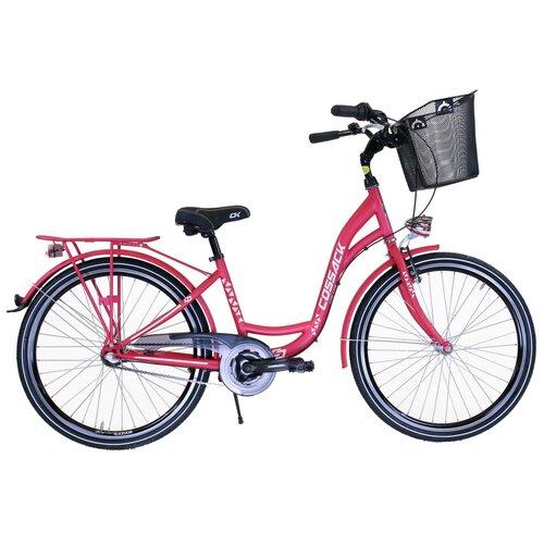 Rower miejski z koszykiem COSSACK Low Line 3B 26 cali damski Różowy mat